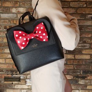 Kate Spade Disney Minnie Mouse Black Backpack Red
